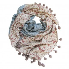 Bamboo Handprinted Square Scarf With Crocheted Pom Poms - Livi