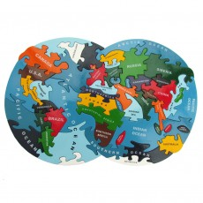 Handmade Wooden Jigsaw Puzzle-The World