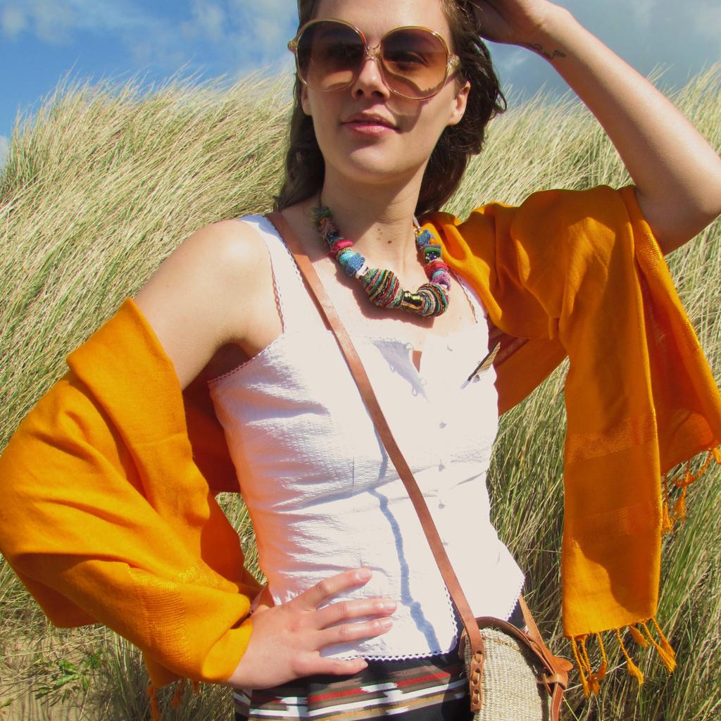 Hand woven saffron shawl