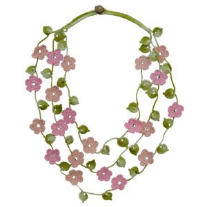 3 strand necklace pink and pale pink