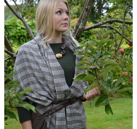 Fairtrade Long Brown Check Handwoven Fine Wool Unisex Scarf
