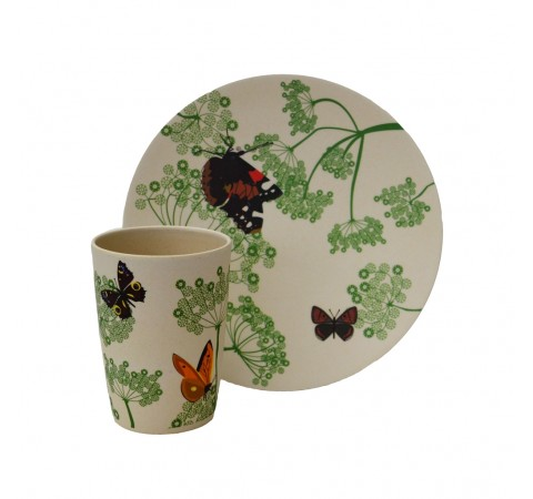 Eco-Friendly Bamboo & Cornstarch Decorated Cup and Plate Set-Botanic