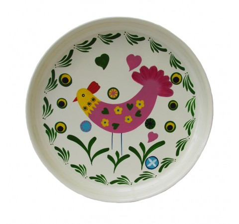 hand painted round chicken tray