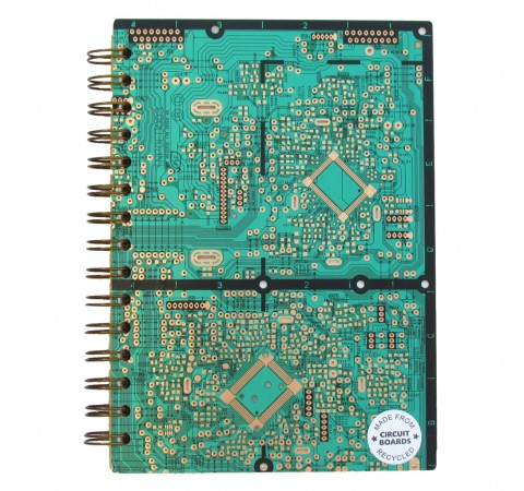 upcycled circuit board notebook