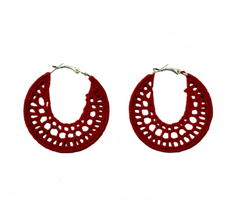Hand-crocheted hoop earrings