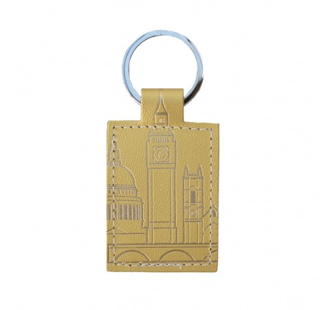 gold leather keyring