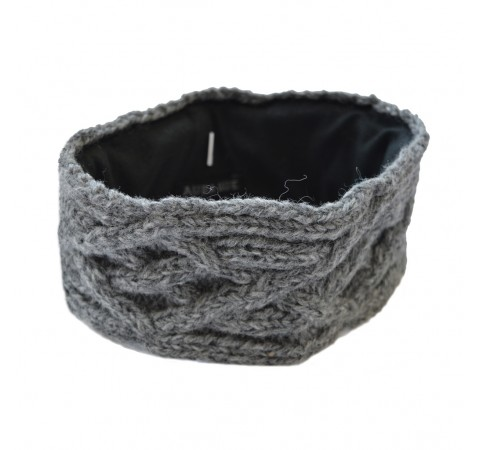 cable knit headband grey