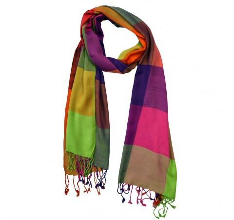 Handwoven Ethically Made Viscose Long Checked Scarf