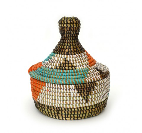 Eco-Friendly Hand-Woven Alibaba Basket with Lid - Small