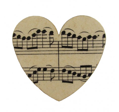 Vintage Music Paper Heart Brooch