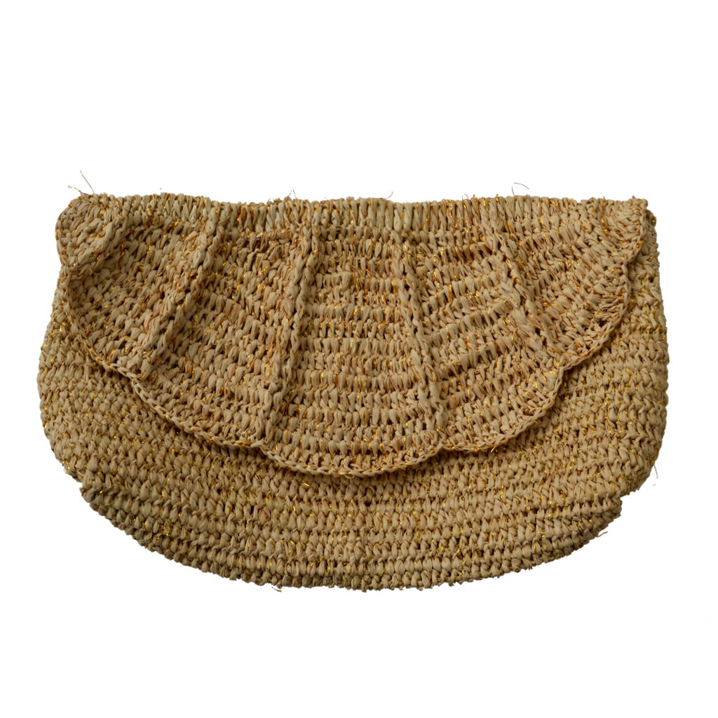 best collection special buy exclusive shoes Fairtrade Scallop Edged Raffia Clutch Bag