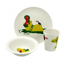 Eco-Friendly Bamboo & Cornstarch Bowl, Plate and Cup-Hungry Hippo