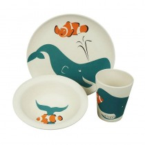 Eco-Friendly Bamboo & Cornstarch Bowl, Plate and Cup-Whale
