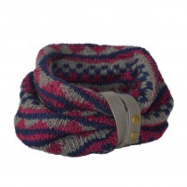 Hand Knitted Patterned Snood With Detachable Strap