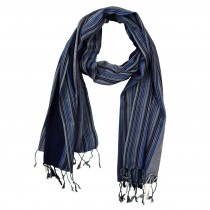 Handwoven Ethically Made Long Viscose Kenar Stripe Scarf