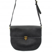 black ethical leather saddle bag