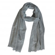 Fairtrade Long Handwoven Grey Fine Wool Unisex Scarf