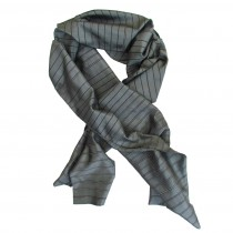 grey stripe silk scarf
