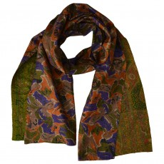Upcycled Silk Sari Long Scarf-Moss Green and Purple Floral
