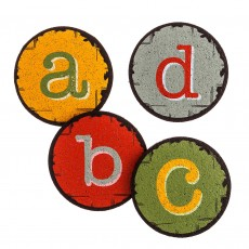 Recycled Rubber Coaster Set - A,B,C,D