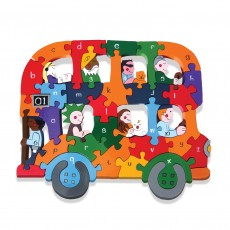 Fairtrade Handmade Wooden Alphabet Jigsaw Puzzle-Bus