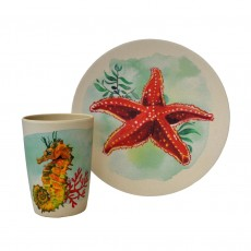 Eco-Friendly Bamboo & Cornstarch Decorated Cup and Plate Set-Aqua