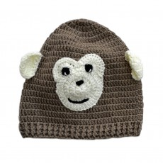 Hand Crocheted Bamboo & Cotton Monkey Hat & Mittens Set (Babies)