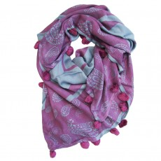 Bamboo Handprinted Square Paisley Scarf with Tassels - Bambi