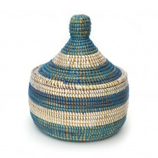 Eco-Friendly Hand-Woven Alibaba Basket with Lid - Medium