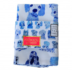 Cotton Hand Printed Tea Towel-Blue Dogs