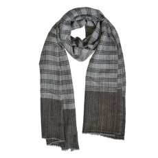 Long Brown Check Handwoven Fine Wool Unisex Scarf
