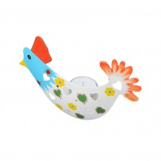 Fairtrade Hand Painted Metal T-Light Holder-Chicken