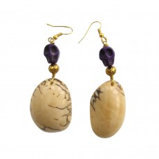 Hand Carved Organic Tagua Nut Drop Earrings