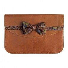 Ethical Leather Clutch Bag With Vintage Bow Tie