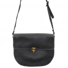 Leather CrossBody Saddle Bag-Black