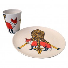 Eco-Friendly Bamboo & Cornstarch Decorated Cup And Plate Set-Giraffe & Fox