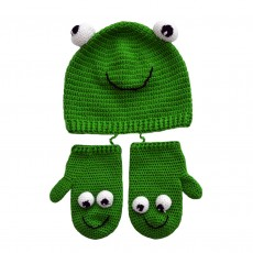 Hand Crocheted Bamboo & Cotton Frog Hat and Mittens Set (6-18 months)