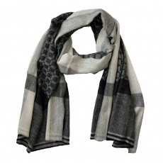 Fairtrade Long Black Check Fine Wool Scarf