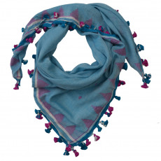 Hand Woven Square Fine Cotton Tasselled Scarf