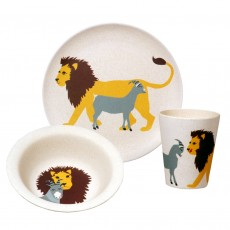Eco-Friendly Bamboo & Cornstarch Bowl, Plate and Cup Set-Lion