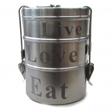 Recycled Fairtrade Metal Tiffen Tin-live, love, eat