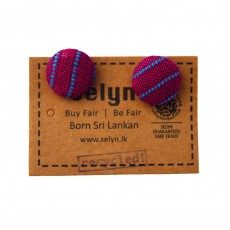 Fair Trade Recycled Fabric Button Earrings