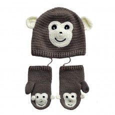 Hand Crocheted Bamboo & Cotton Monkey Hat & Mittens Set (6-18months)