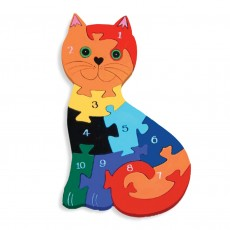 Fairtrade Handmade Wooden Number Jigsaw-Cat