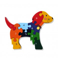 Fairtrade Handmade Wooden Number Jigsaw-Dog