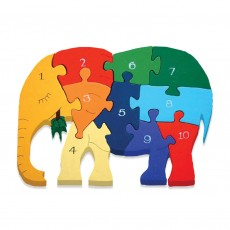 Fairtrade Handmade Wooden Number Jigsaw-Elephant