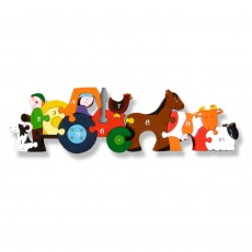 Fairtrade Handmade Wooden Number Jigsaw-Farmyard