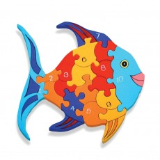 Fairtrade Handmade Wooden Number Jigsaw-Fish
