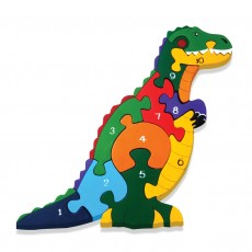 Fairtrade Handmade Wooden Number Jigsaw-T-Rex