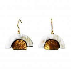 Eco-Friendly Brass and Horn Earrings-Promise Drops